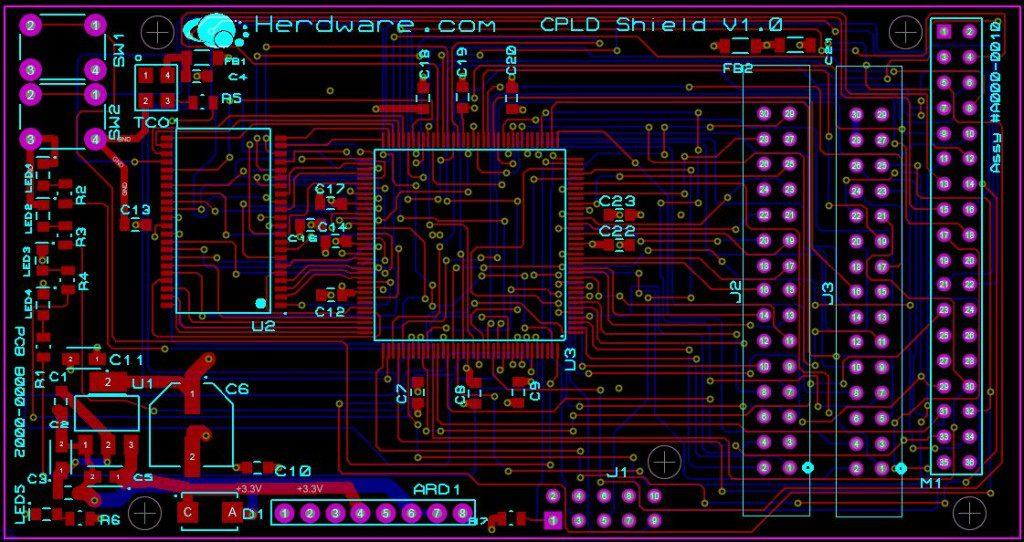 CPLD Shield PCB 4 layer