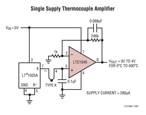 Thermocouple Amplifier With Cold Junction Compensator 10mv